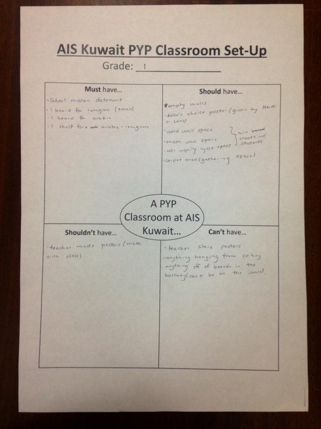 PYP classroom setup grade 1
