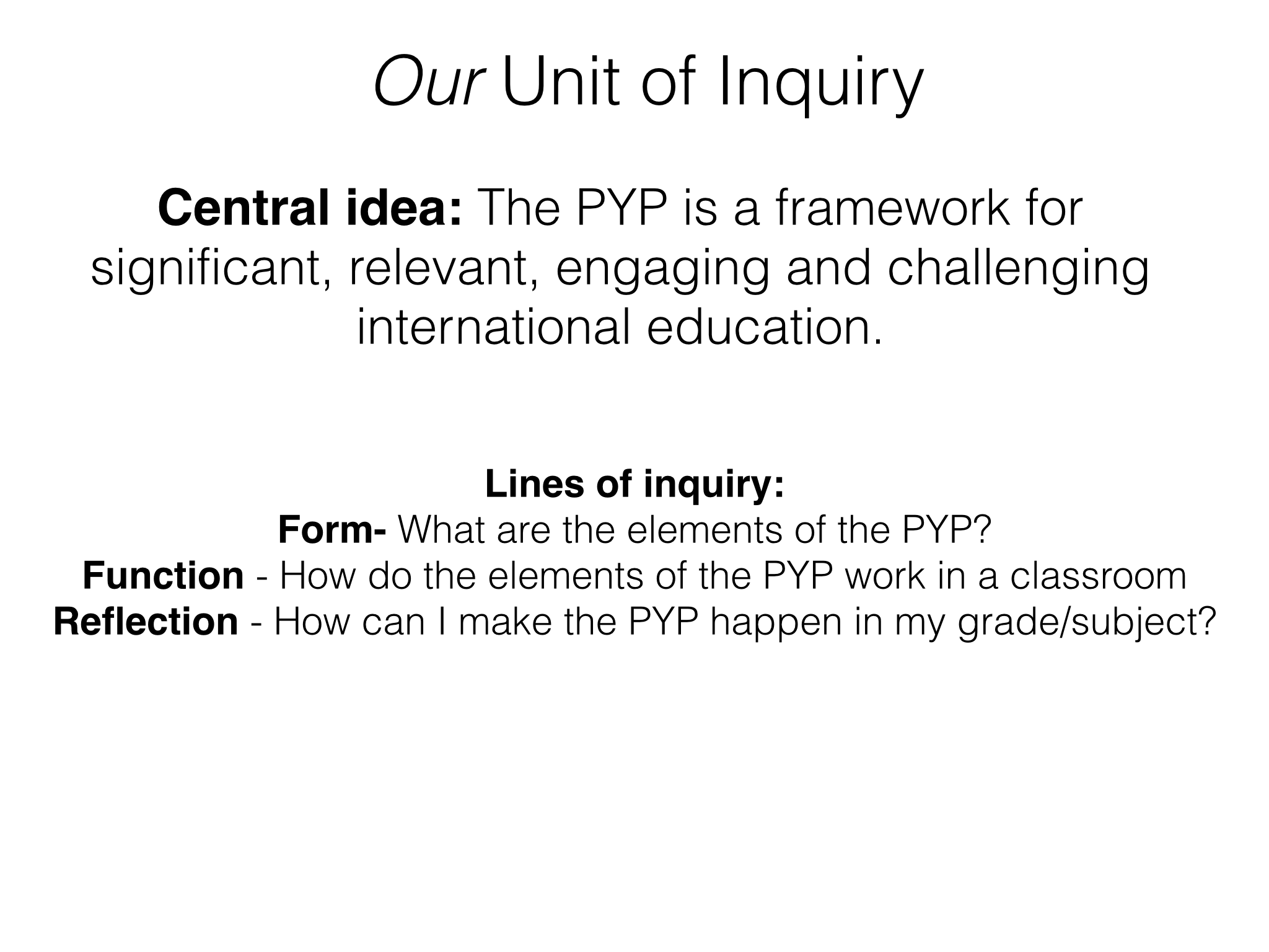 Pyp new staff induction as a unit of inquiry making good humans staff induction uoi altavistaventures Image collections