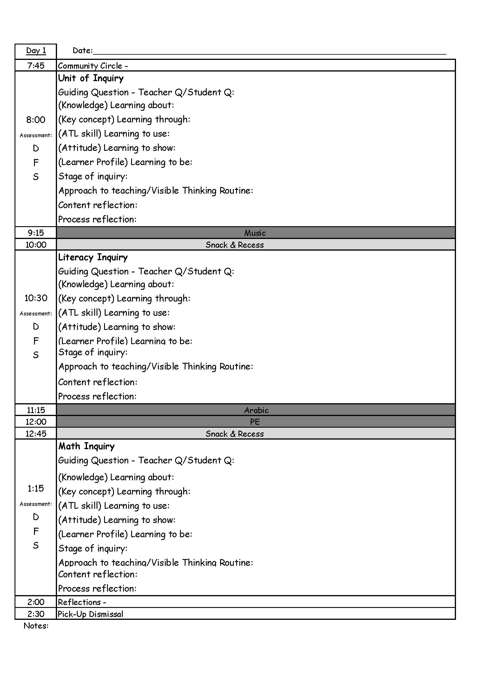 PYP Day Plan Template  Daily Action Plan Template